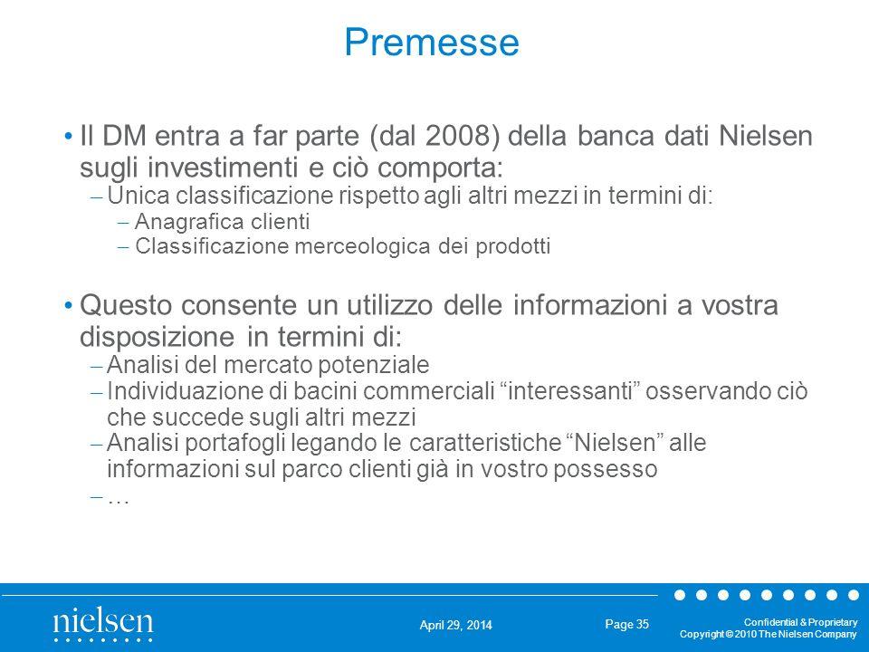Premesse Il DM entra a far parte (dal 2008) della banca dati Nielsen sugli investimenti e ciò comporta: