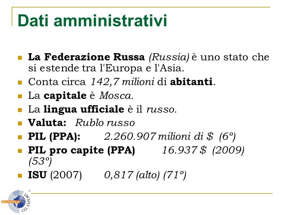 Dati amministrativi La Federazione Russa (Russia) è uno stato che si estende tra l Europa e l Asia.
