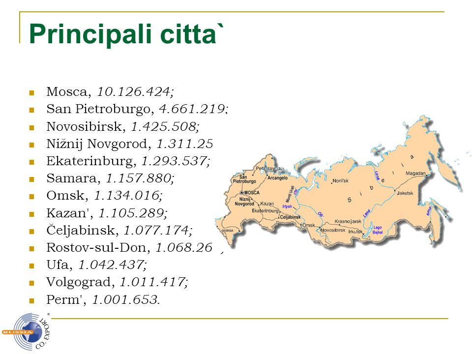 Principali citta` Mosca, 10.126.424; San Pietroburgo, 4.661.219;