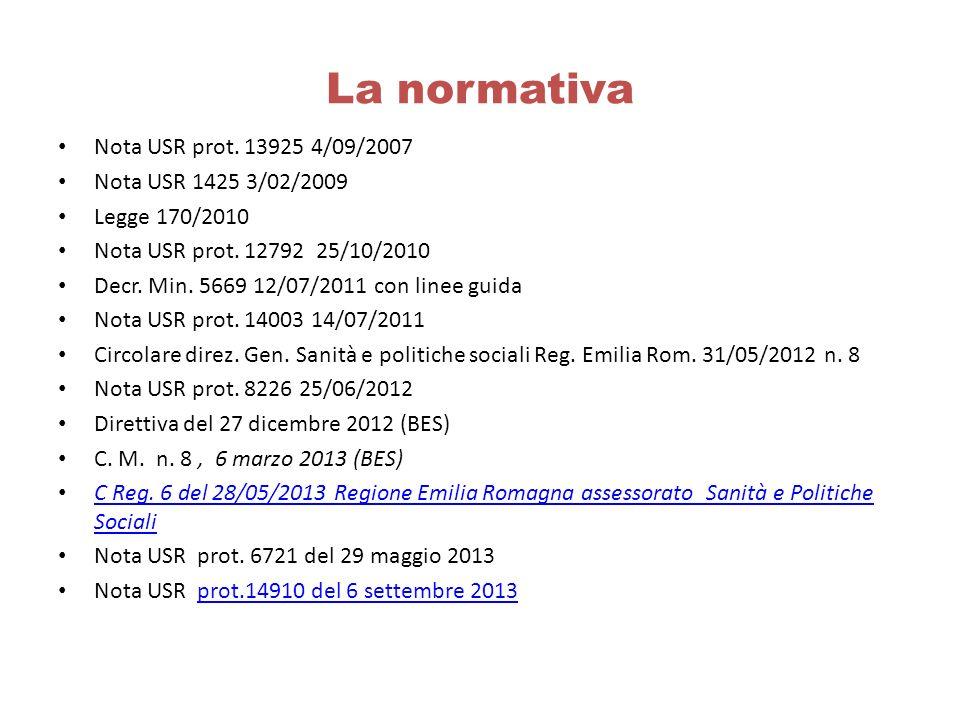 La normativa Nota USR prot. 13925 4/09/2007 Nota USR 1425 3/02/2009