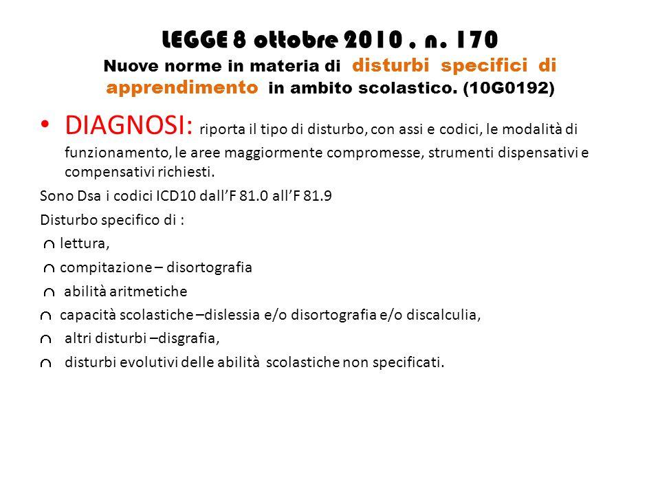 LEGGE 8 ottobre 2010 , n. 170 Nuove norme in materia di disturbi specifici di apprendimento in ambito scolastico. (10G0192)
