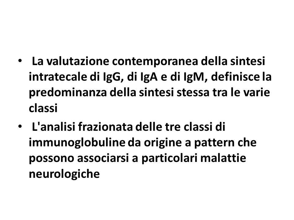 La valutazione contemporanea della sintesi intratecale di IgG, di IgA e di IgM, definisce la predominanza della sintesi stessa tra le varie classi