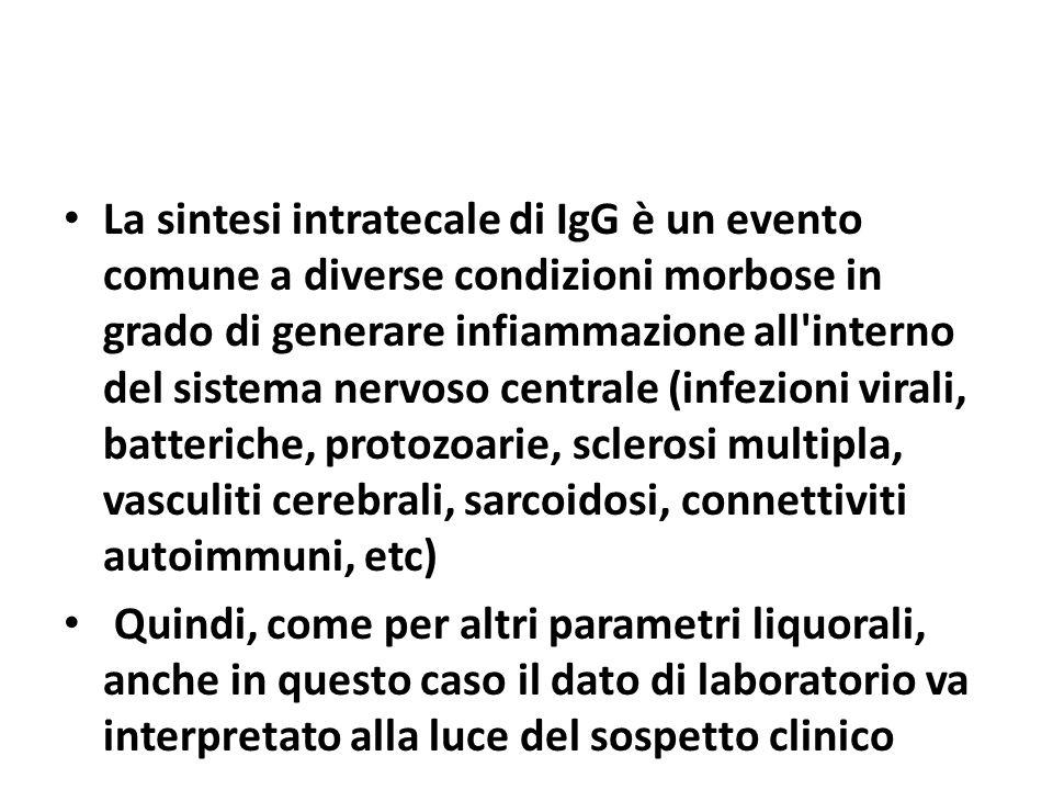 La sintesi intratecale di IgG è un evento comune a diverse condizioni morbose in grado di generare infiammazione all interno del sistema nervoso centrale (infezioni virali, batteriche, protozoarie, sclerosi multipla, vasculiti cerebrali, sarcoidosi, connettiviti autoimmuni, etc)