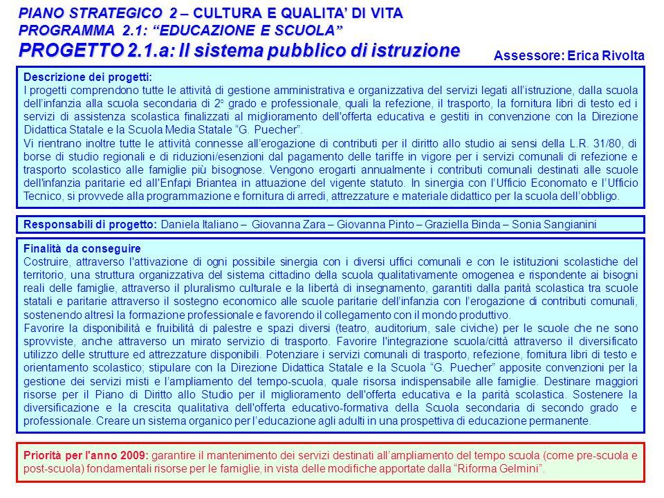 PROGETTO 2.1.a: Il sistema pubblico di istruzione
