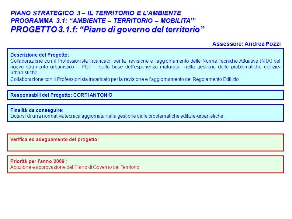 PROGETTO 3.1.f: Piano di governo del territorio