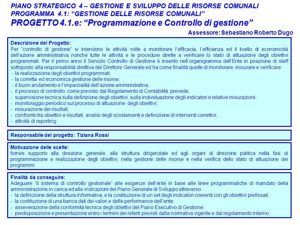 PROGETTO 4.1.e: Programmazione e Controllo di gestione