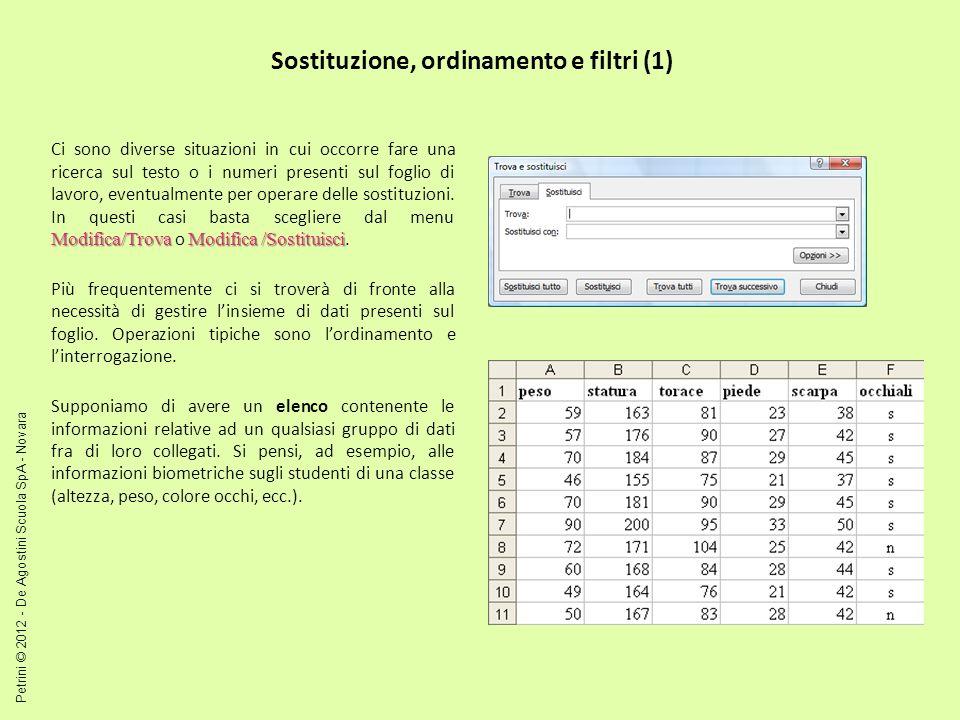 Sostituzione, ordinamento e filtri (1)