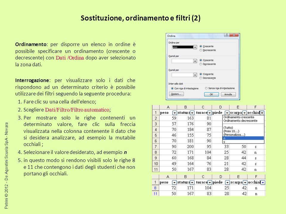 Sostituzione, ordinamento e filtri (2)