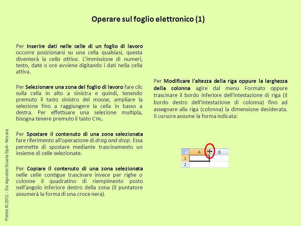 Operare sul foglio elettronico (1)
