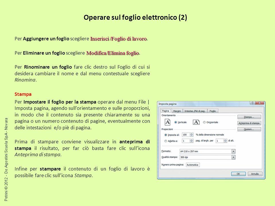 Operare sul foglio elettronico (2)
