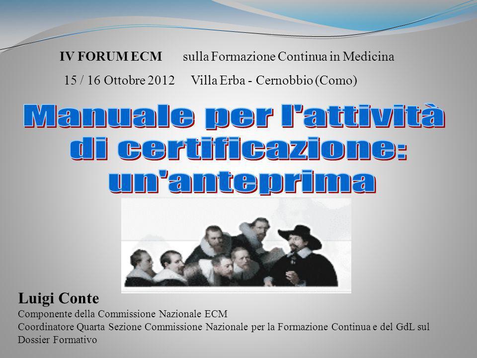Manuale per l attività di certificazione: un anteprima Luigi Conte