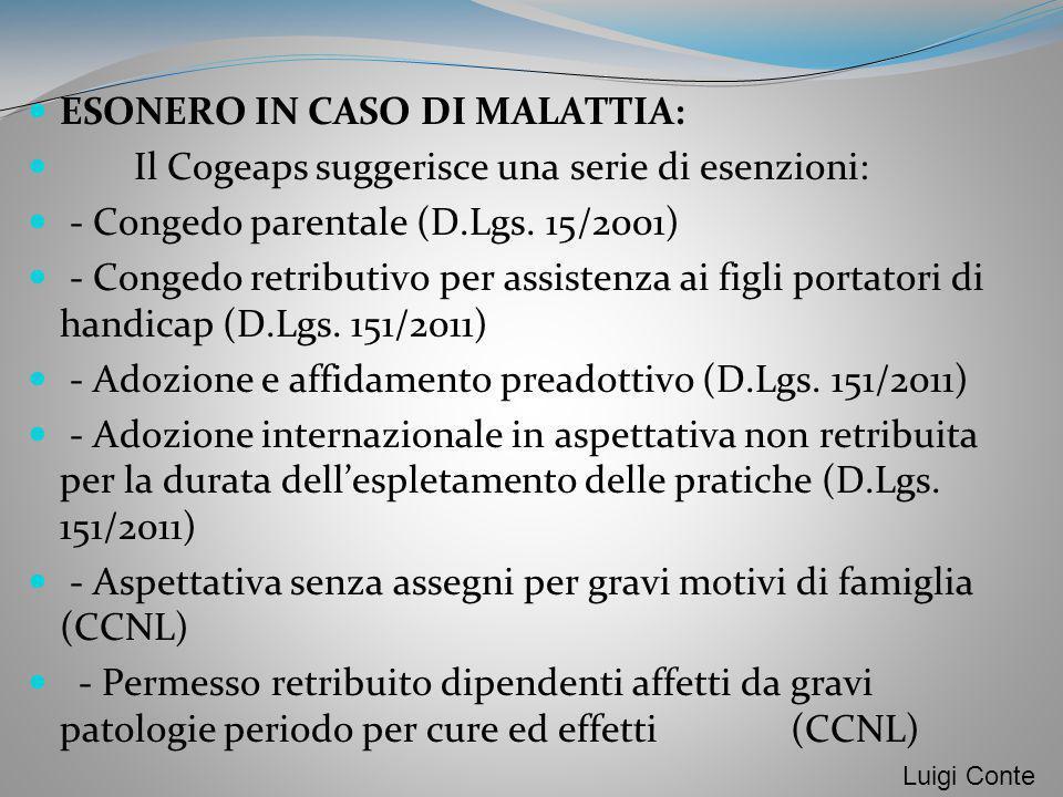 ESONERO IN CASO DI MALATTIA: