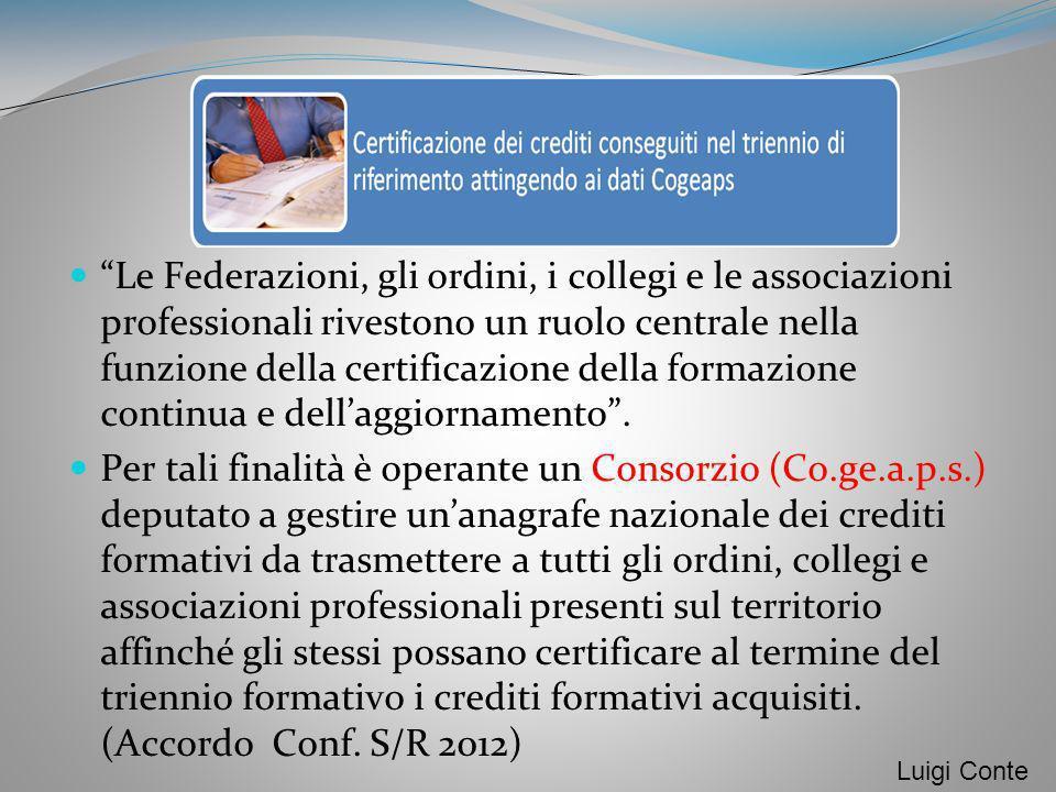 Le Federazioni, gli ordini, i collegi e le associazioni professionali rivestono un ruolo centrale nella funzione della certificazione della formazione continua e dell'aggiornamento .