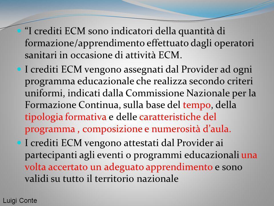 I crediti ECM sono indicatori della quantità di formazione/apprendimento effettuato dagli operatori sanitari in occasione di attività ECM.