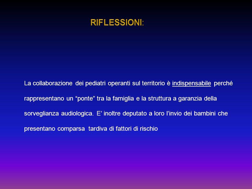 RIFLESSIONI: La collaborazione dei pediatri operanti sul territorio è indispensabile perché.