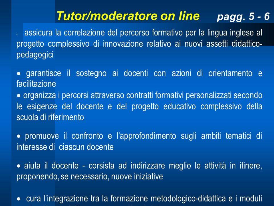 Tutor/moderatore on line pagg. 5 - 6