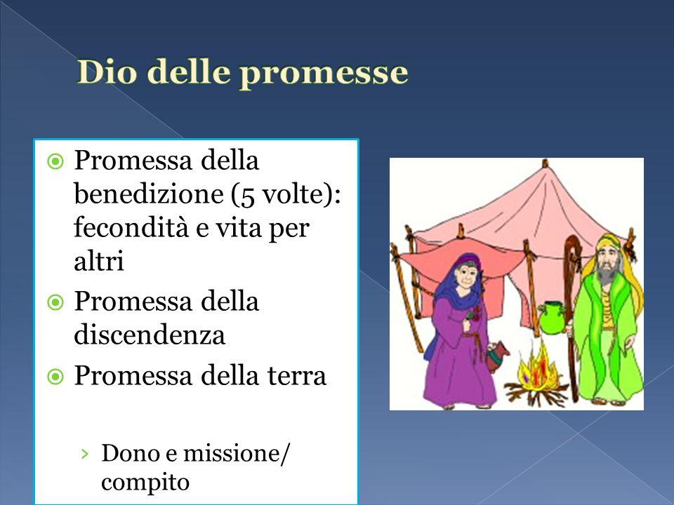 Dio delle promesse Promessa della benedizione (5 volte): fecondità e vita per altri. Promessa della discendenza.
