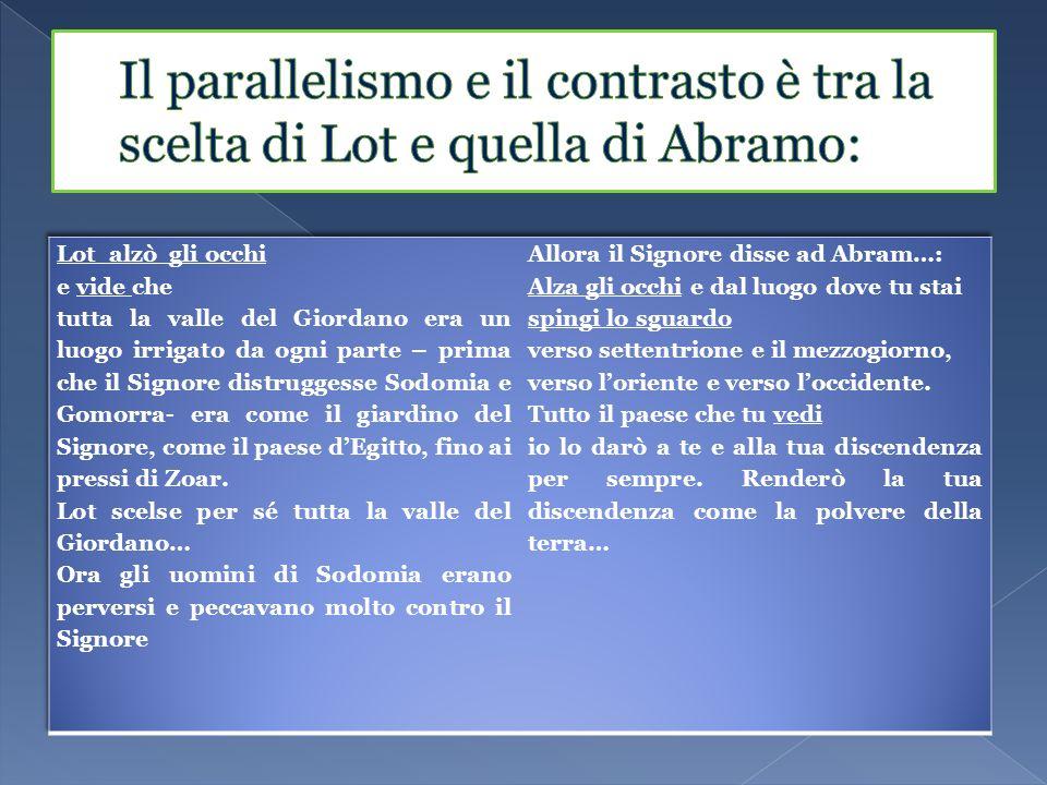 Il parallelismo e il contrasto è tra la scelta di Lot e quella di Abramo: