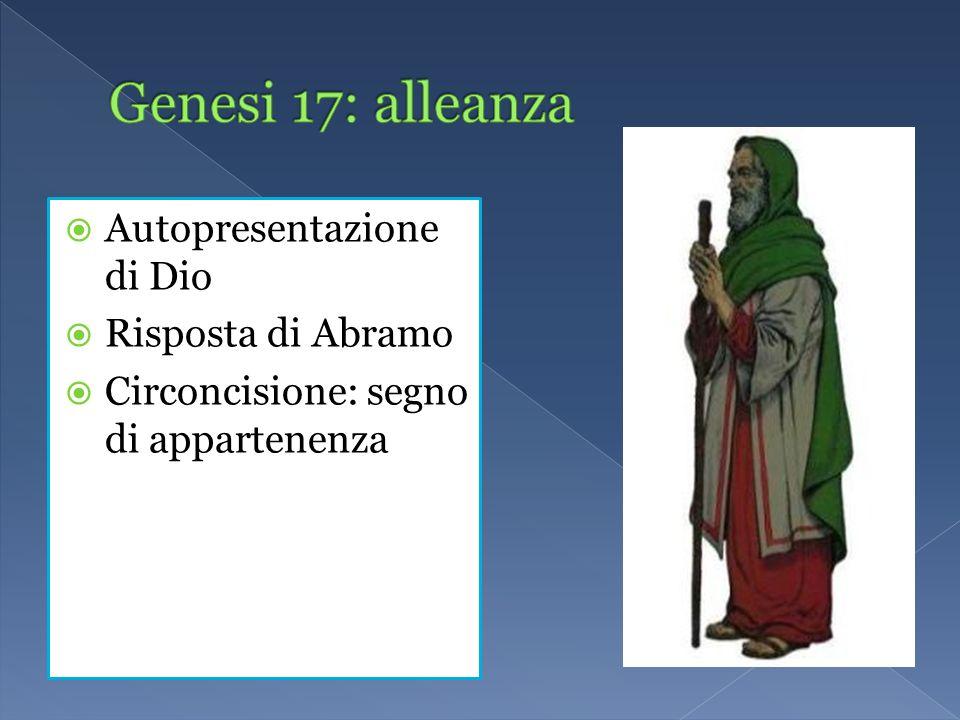 Genesi 17: alleanza Autopresentazione di Dio Risposta di Abramo