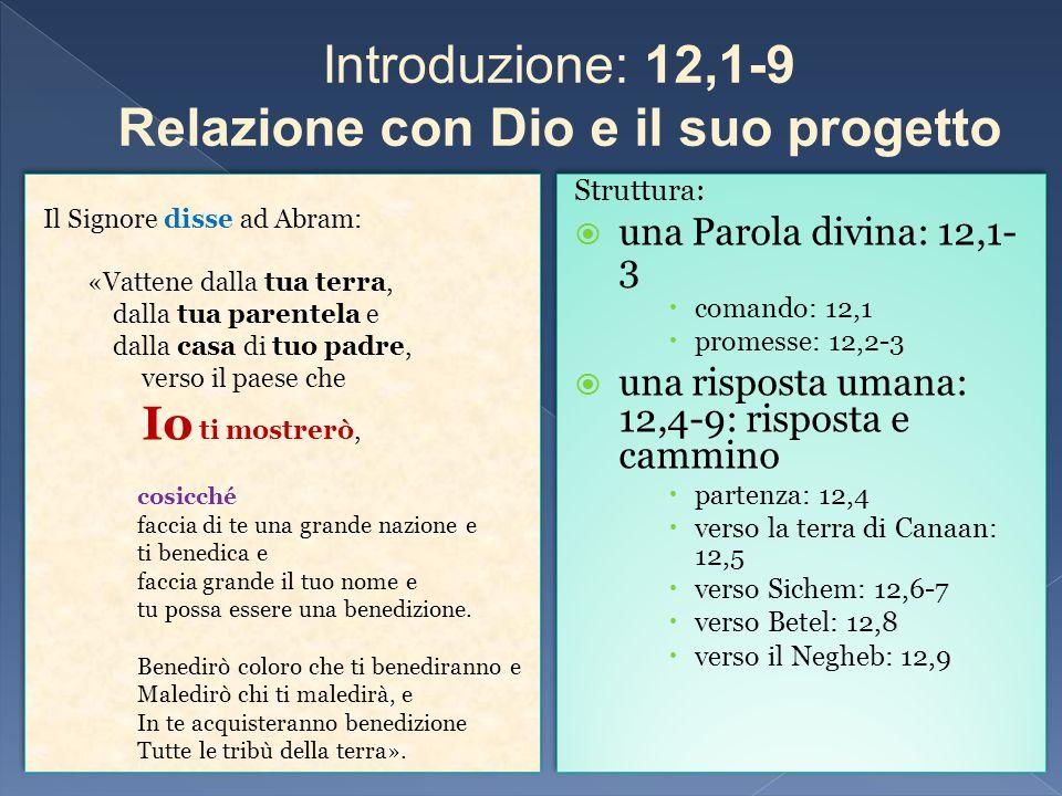 Introduzione: 12,1-9 Relazione con Dio e il suo progetto