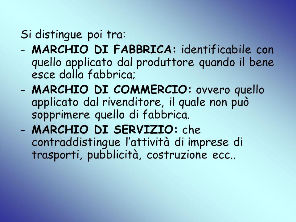 Si distingue poi tra: MARCHIO DI FABBRICA: identificabile con quello applicato dal produttore quando il bene esce dalla fabbrica;