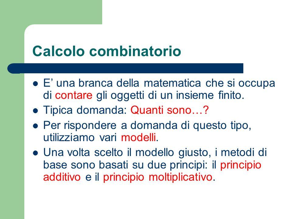 Calcolo combinatorio E' una branca della matematica che si occupa di contare gli oggetti di un insieme finito.