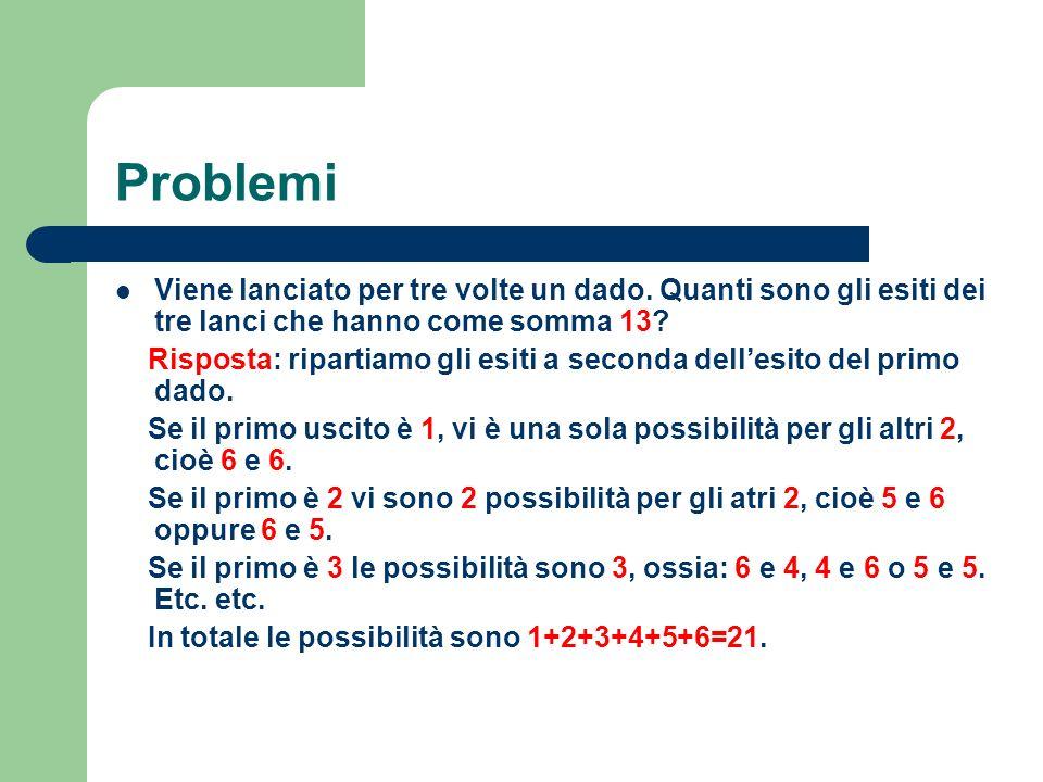 Problemi Viene lanciato per tre volte un dado. Quanti sono gli esiti dei tre lanci che hanno come somma 13