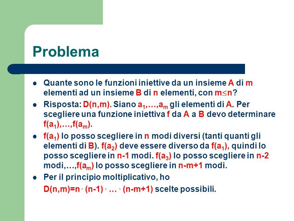 Problema Quante sono le funzioni iniettive da un insieme A di m elementi ad un insieme B di n elementi, con m£n