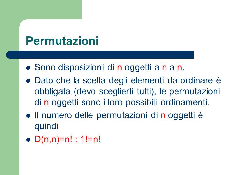 Permutazioni Sono disposizioni di n oggetti a n a n.