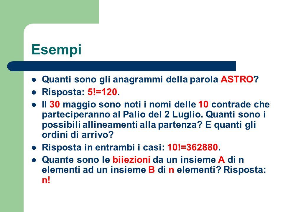 Esempi Quanti sono gli anagrammi della parola ASTRO Risposta: 5!=120.