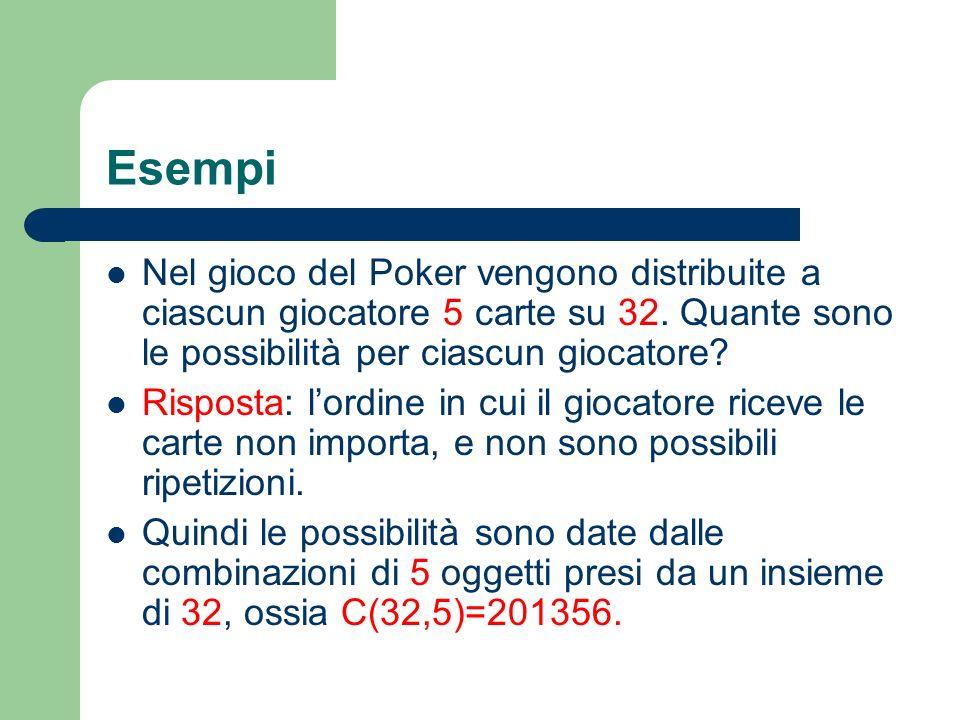Esempi Nel gioco del Poker vengono distribuite a ciascun giocatore 5 carte su 32. Quante sono le possibilità per ciascun giocatore