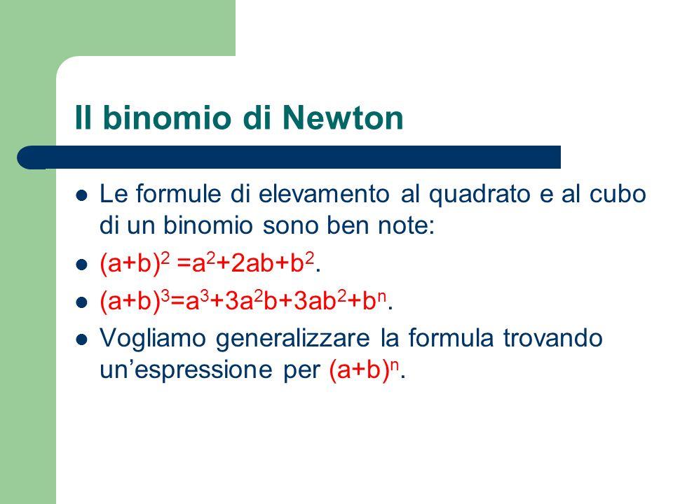 Il binomio di Newton Le formule di elevamento al quadrato e al cubo di un binomio sono ben note: (a+b)2 =a2+2ab+b2.