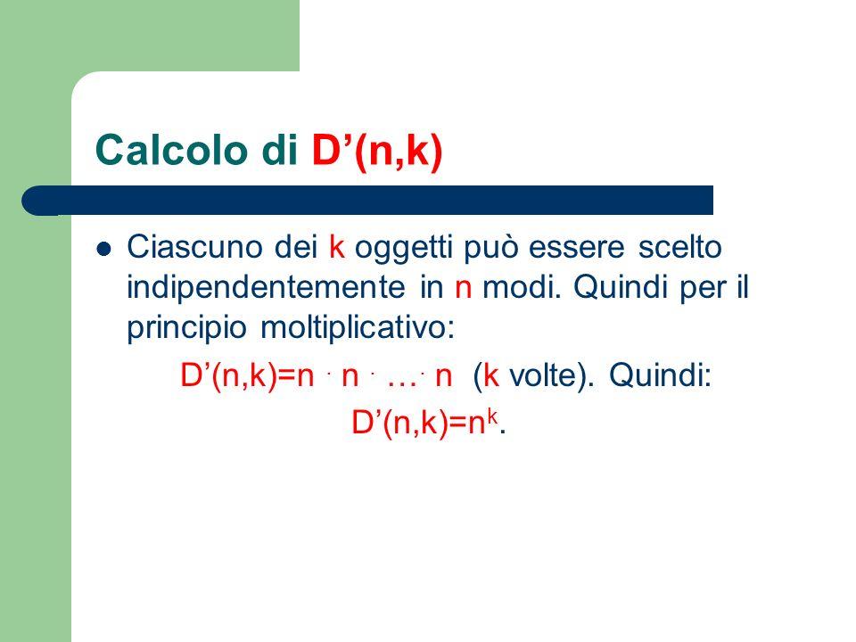 Calcolo di D'(n,k) Ciascuno dei k oggetti può essere scelto indipendentemente in n modi. Quindi per il principio moltiplicativo: