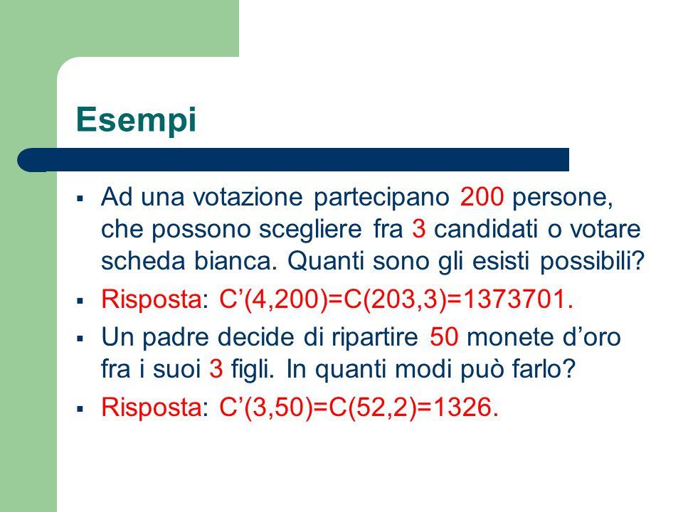 Esempi Ad una votazione partecipano 200 persone, che possono scegliere fra 3 candidati o votare scheda bianca. Quanti sono gli esisti possibili