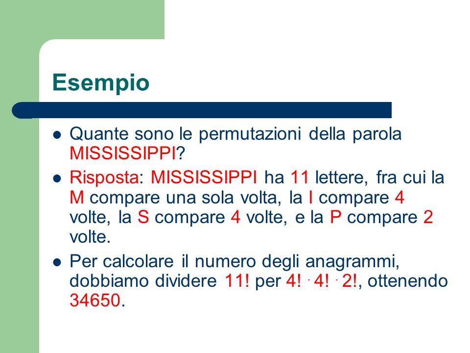 Esempio Quante sono le permutazioni della parola MISSISSIPPI