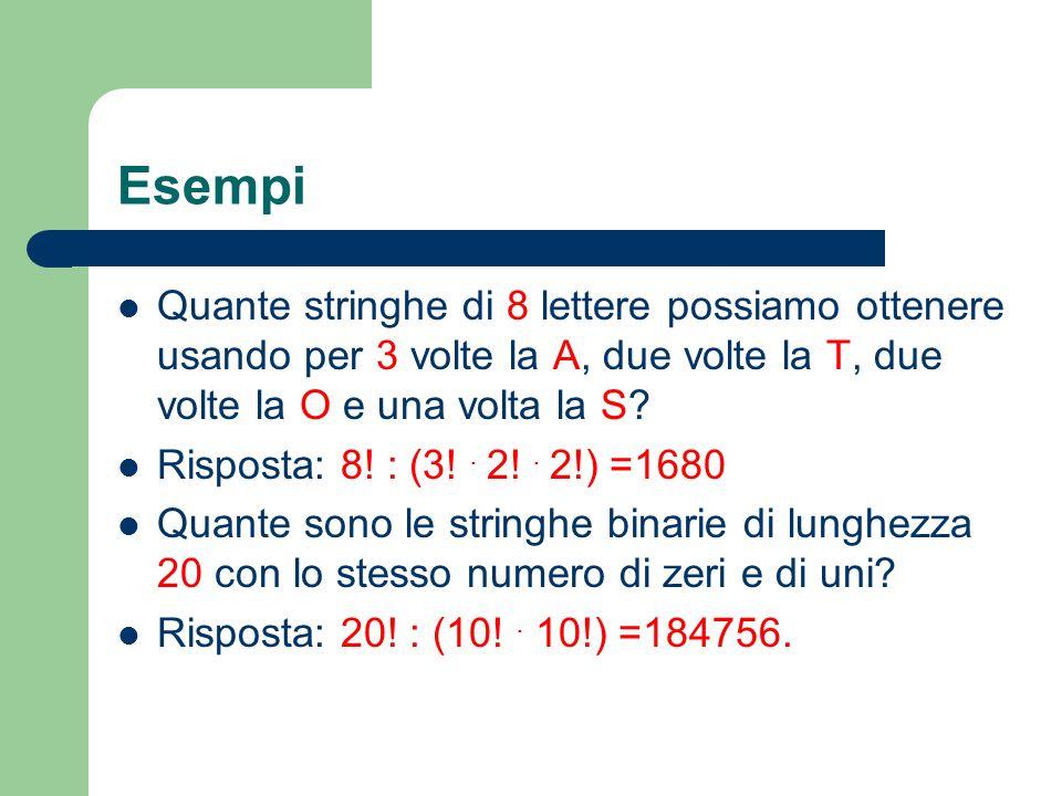 Esempi Quante stringhe di 8 lettere possiamo ottenere usando per 3 volte la A, due volte la T, due volte la O e una volta la S