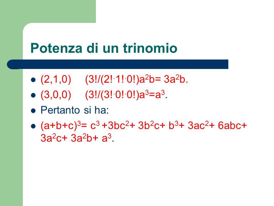 Potenza di un trinomio (2,1,0) (3!/(2!.1!.0!)a2b= 3a2b.