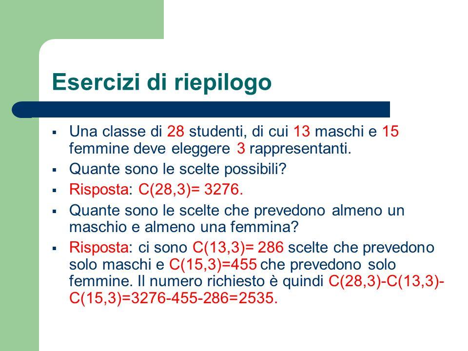 Esercizi di riepilogo Una classe di 28 studenti, di cui 13 maschi e 15 femmine deve eleggere 3 rappresentanti.