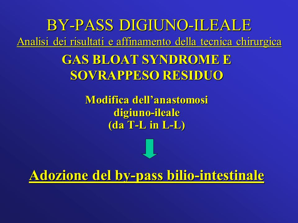 BY-PASS DIGIUNO-ILEALE Analisi dei risultati e affinamento della tecnica chirurgica