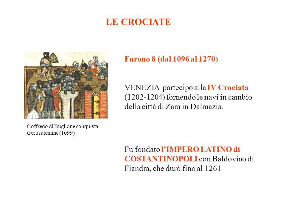 LE CROCIATE Furono 8 (dal 1096 al 1270)