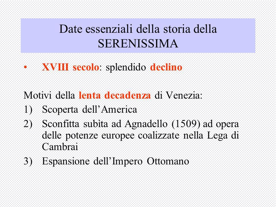 Date essenziali della storia della SERENISSIMA