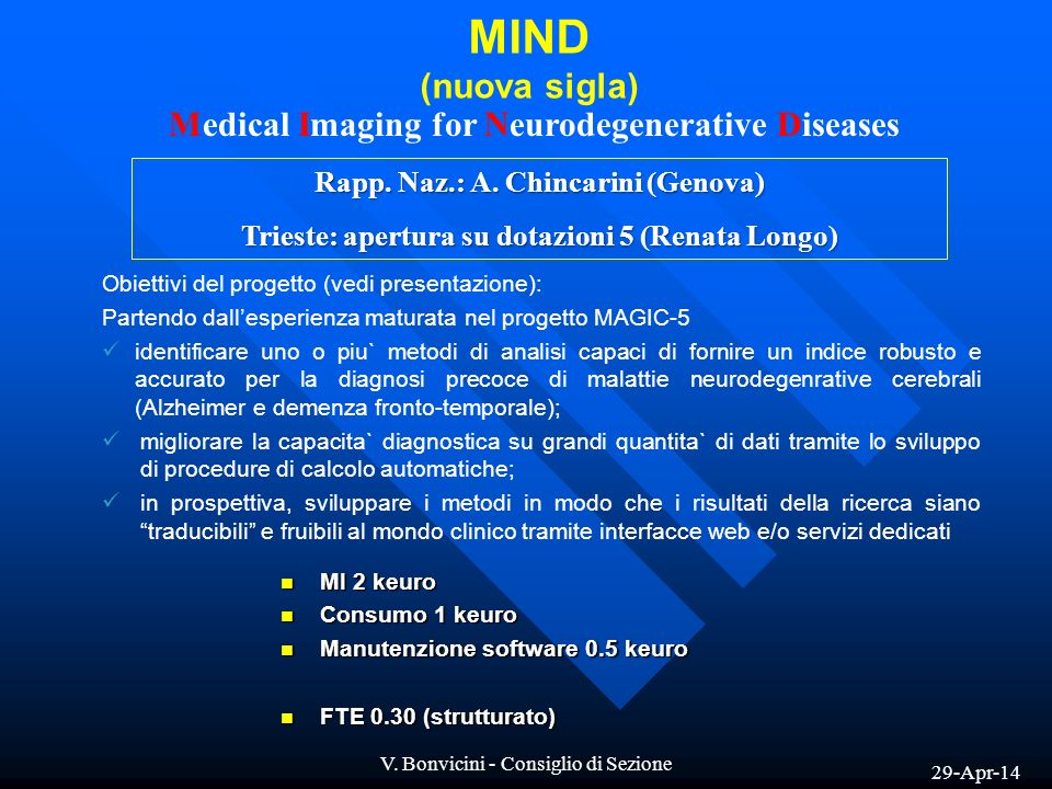 MIND (nuova sigla) Medical Imaging for Neurodegenerative Diseases