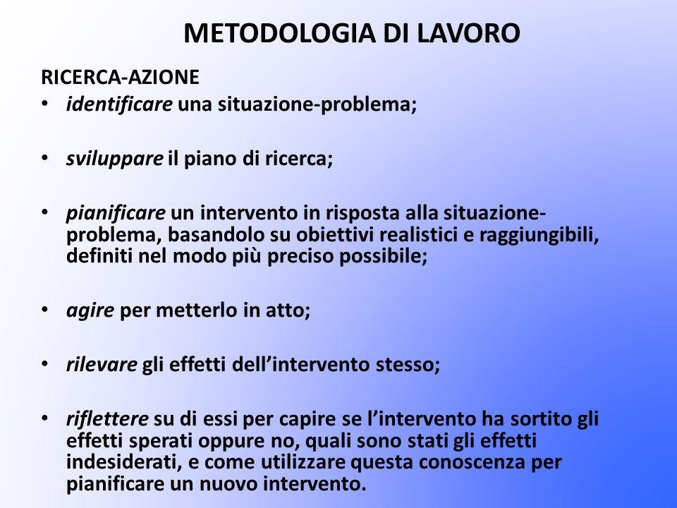 METODOLOGIA DI LAVORO RICERCA-AZIONE