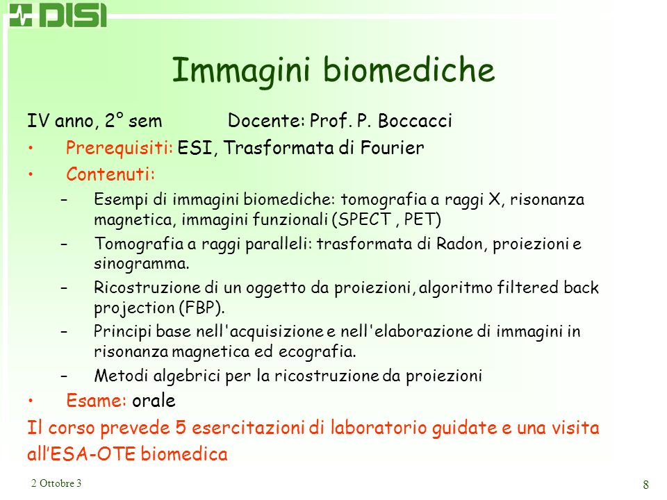 Metodi di elab. di segnali ed immagini 1