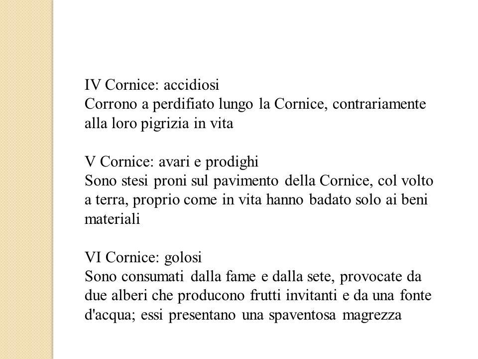IV Cornice: accidiosi Corrono a perdifiato lungo la Cornice, contrariamente alla loro pigrizia in vita.