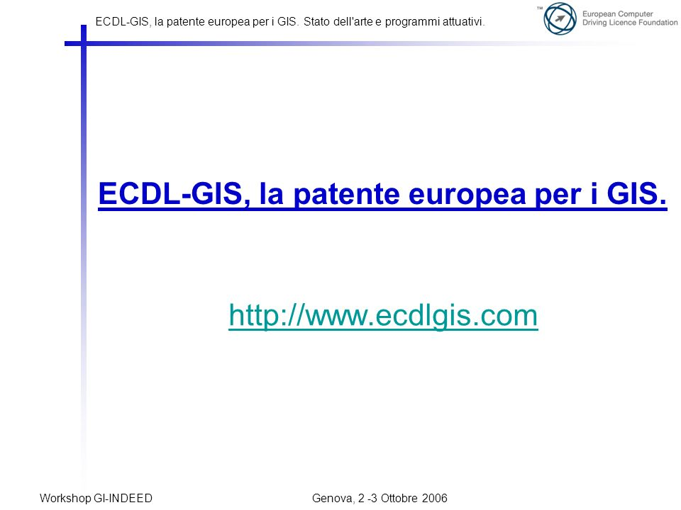 ECDL-GIS, la patente europea per i GIS.