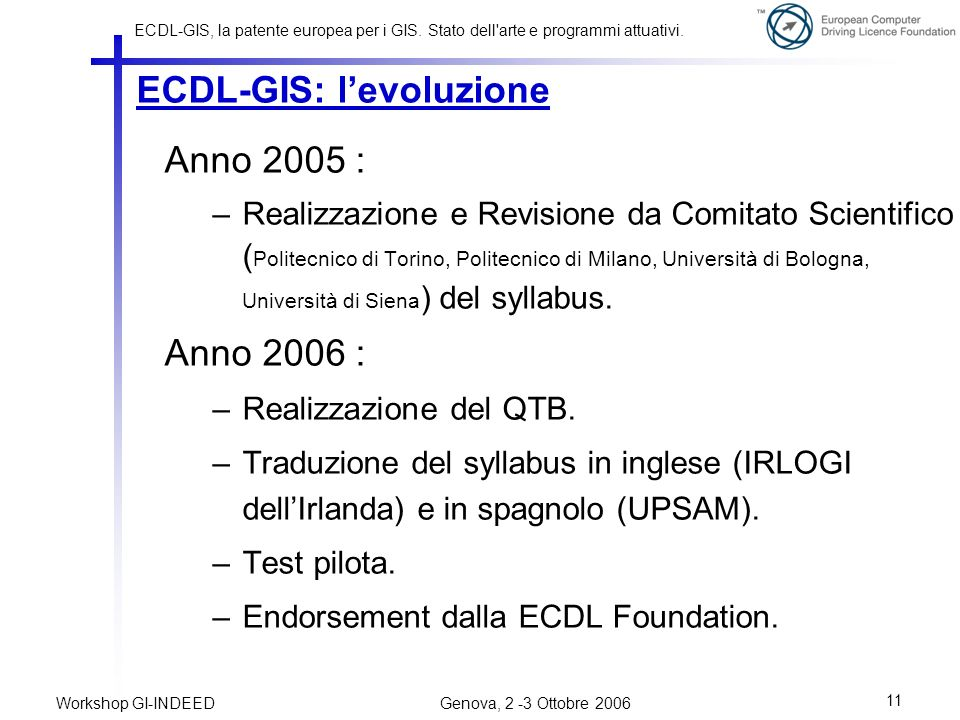 ECDL-GIS: l'evoluzione