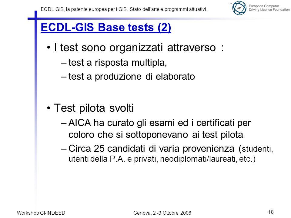 I test sono organizzati attraverso :