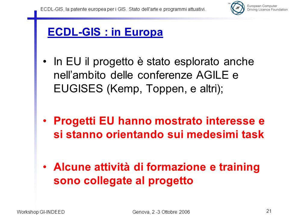 ECDL-GIS : in Europa In EU il progetto è stato esplorato anche nell'ambito delle conferenze AGILE e EUGISES (Kemp, Toppen, e altri);