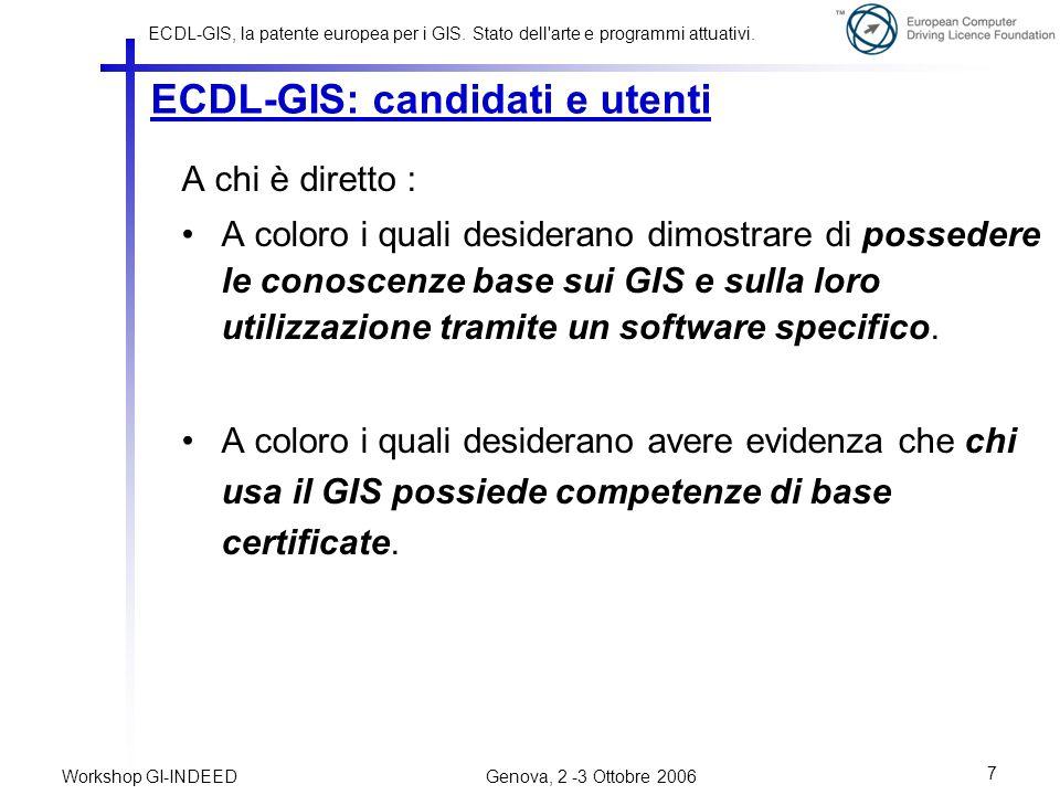 ECDL-GIS: candidati e utenti